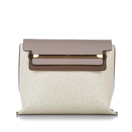 Chloe Clare Ostrich Leather Shoulder Bag