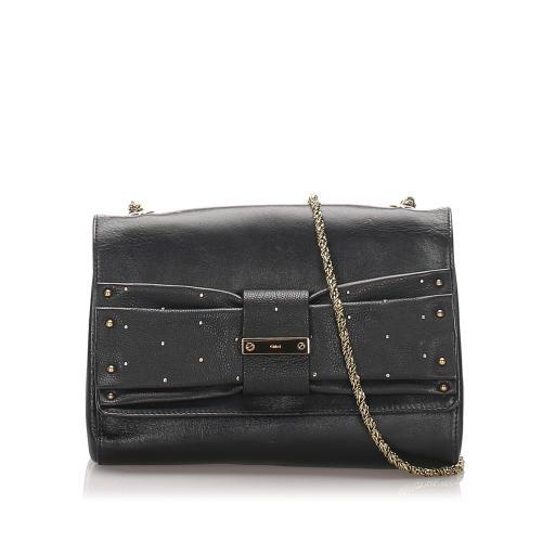 Chloe June Bow Leather Shoulder Bag