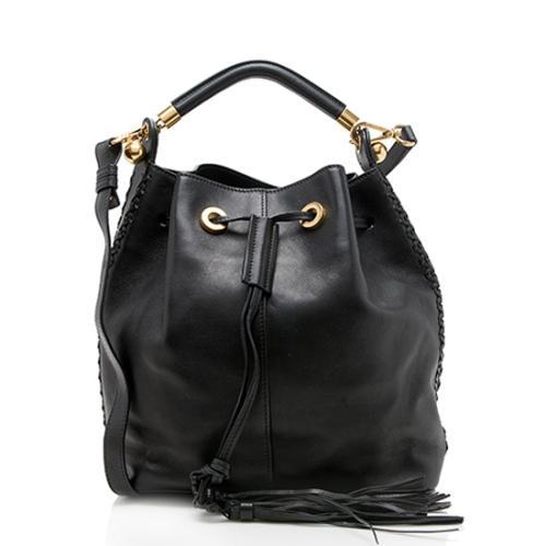 Chloe Leather Gala Medium Bucket Bag
