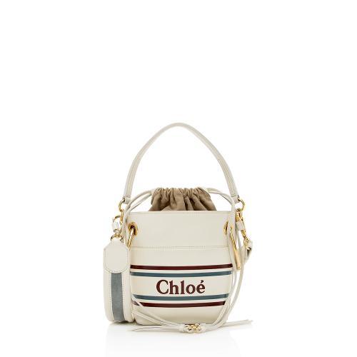Chloe Leather Logo Roy Mini Bucket Bag