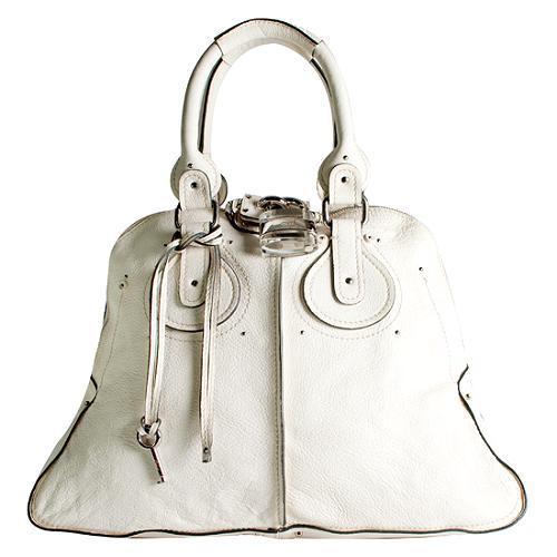 Chloe Leather Lucite Paddington Medium Satchel Handbag