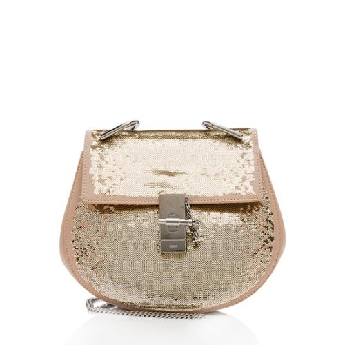 Chloe Leather Sequin Drew Small Shoulder Bag