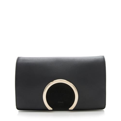 Chloe Leather Suede Gabrielle Clutch
