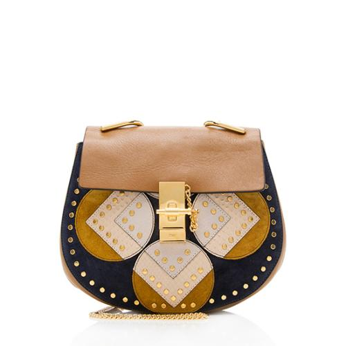 Chloe Leather Suede Studded Drew Small Shoulder Bag
