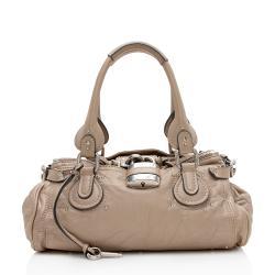 Chloe Metallic Leather Paddington Medium Satchel