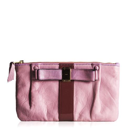 Chloe Nicosi Leather Bow Clutch