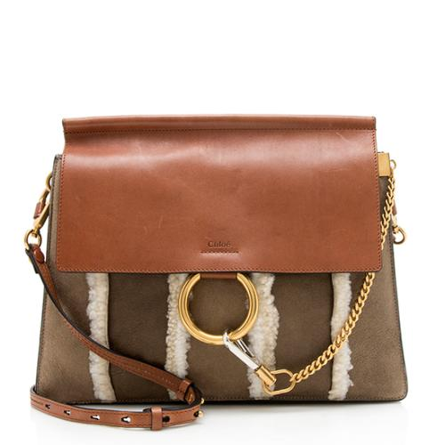 Chloe Nubuck Striped Shearling Faye Shoulder Bag