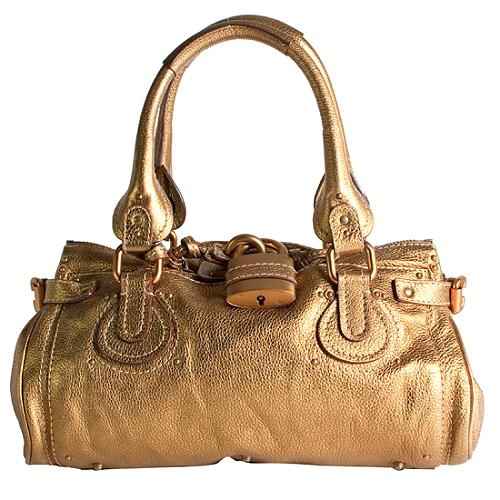 Chloe Paddington Metallic Gold Satchel Handbag