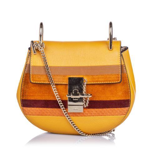 Chloe Patchwork Leather Python Drew Crossbody Bag