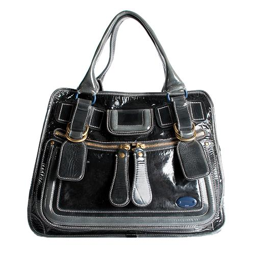 Chloe Patent Leather Bay Shoulder Handbag