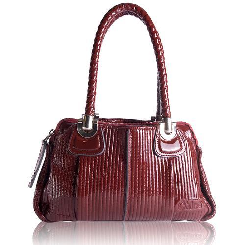 Chloe Patent Leather Heloise Bowler Satchel Handbag