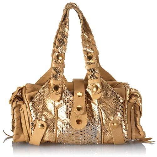 Chloe Python Silverado Small Satchel Handbag