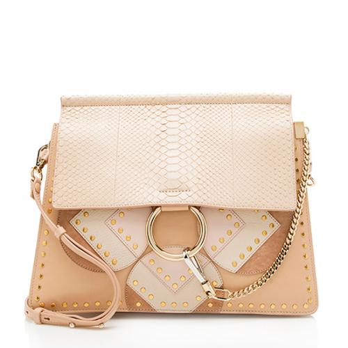 Chloe Python Suede Patchwork Studded Faye Shoulder Bag