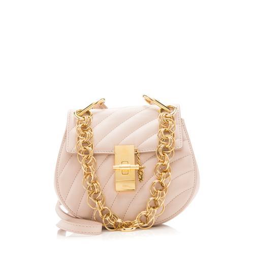 Chloe Quilted Calfskin Drew Bijou Chain Mini Shoulder Bag