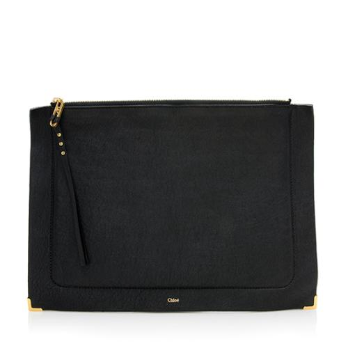 Chloe Sheepskin Ghost Flat Pouch Clutch