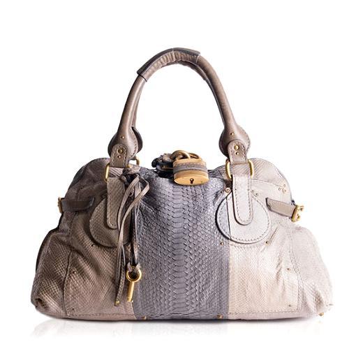 Chloe Snakeskin Paddington Satchel Handbag
