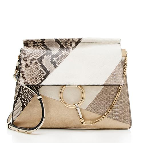 Chloe Snakeskin Pony Hair Patchwork Faye Medium Shoulder Bag