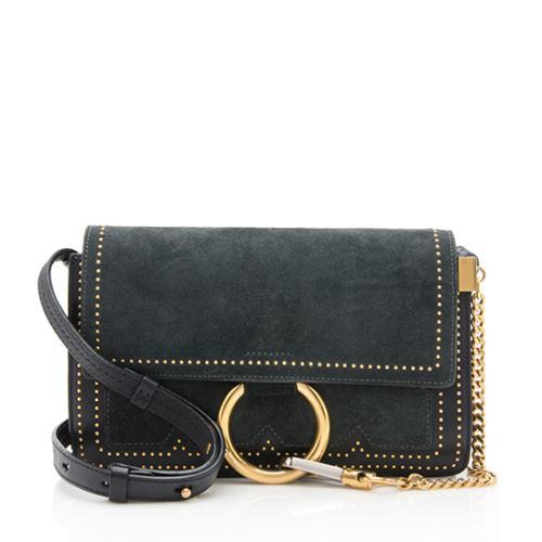 Chloe Suede Studded Small Faye Shoulder Bag