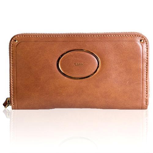 Chloe Wood Calfskin Victoria Continental Zip Wallet