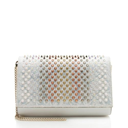 Christian Louboutin Brocade Leather Multimetal Studded Paloma Chain Clutch