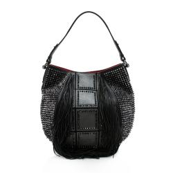 Christian Louboutin Leather Studded Fringe Lucky L Hobo
