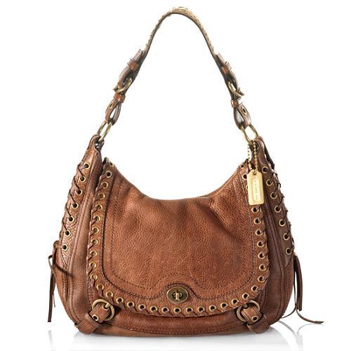 Coach Abbey Leather Flap Hobo Handbag