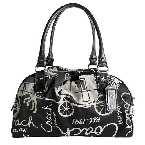 Coach Black Horse and Wagon Satchel Handbag
