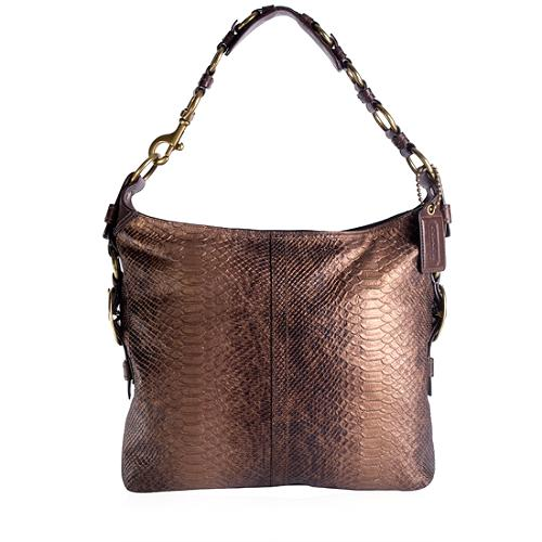 Coach Bleecker Python Printed Slim Hobo Handbag