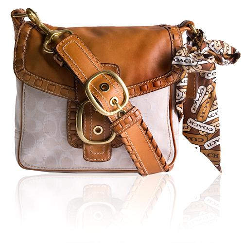 Coach Bleecker Signature Large Flap Shoulder Handbag