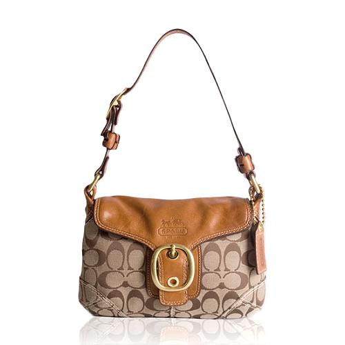 Coach Bleecker Signature Small Flap Shoulder Handbag