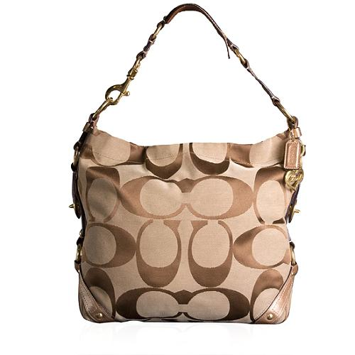 Coach Carly Signature Large Hobo Handbag with Matching Wallet and Wristlet