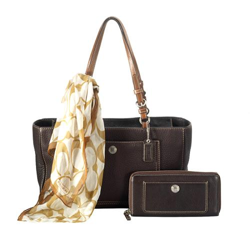 Coach Chelsea Pebbled Leather Zip Tote Set