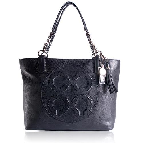 Coach Colette Leather Op Art Logo Tote