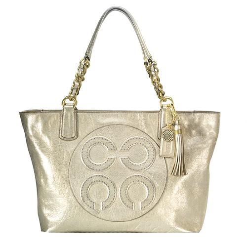 Coach Colette Leather Op Art Logo Tote