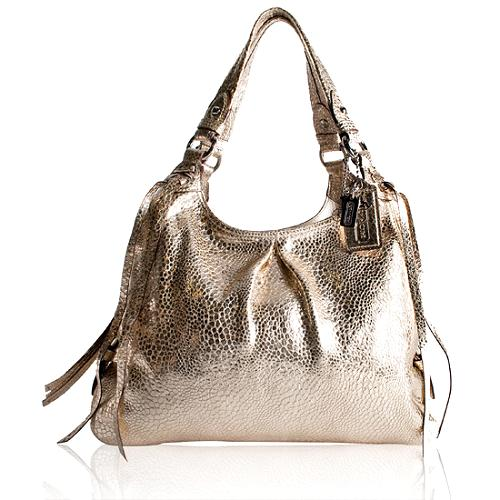 Coach Crackled Metallic Leather Maggie Tote