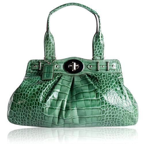 Coach Embossed Croc Garnet Satchel Handbag