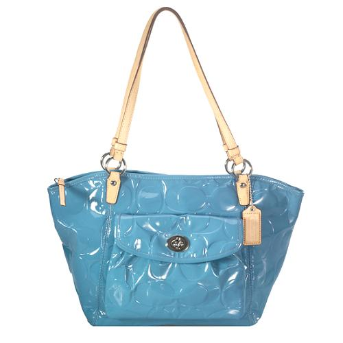 Coach Embossed Patent Leather Leah Tote