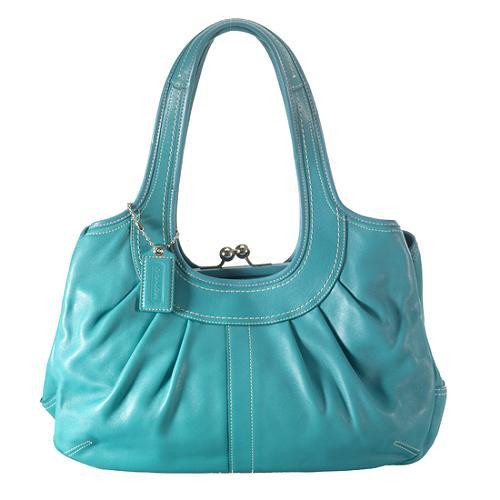 Coach Ergo Leather Pleated Framed Satchel Handbag