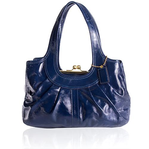 Coach Ergo Patent Leather Pleated Framed Satchel Handbag
