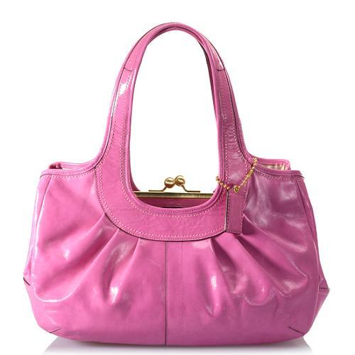 Coach Ergo Patent Leather Pleated Framed Satchel Handbag