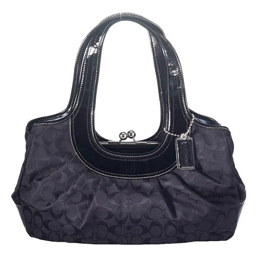 Coach Ergo Signature Pleated Framed Satchel Handbag