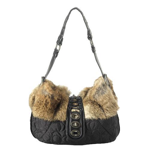 Coach Fur Trim Hobo Handbag