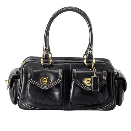 Coach Gallery Multi Pocket Leather Satchel Handbag