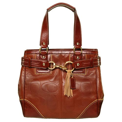 Coach Hamptons Leather Signature Book Tote