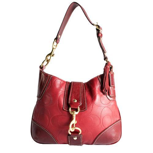 Coach Hamptons Leather Signature Stitched Hobo Handbag