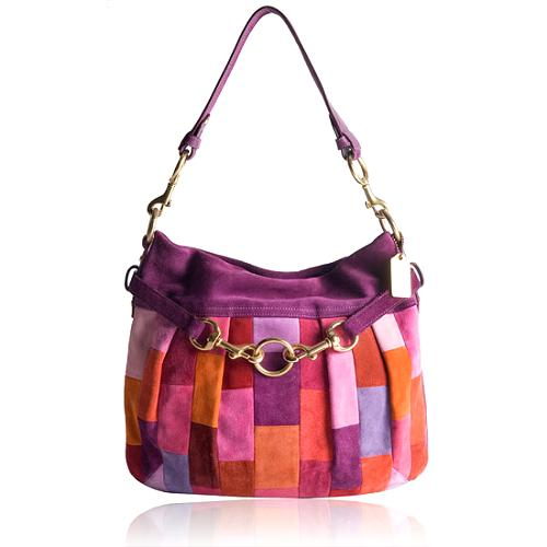 Coach Hamptons Mosaic Suede Hobo Handbag