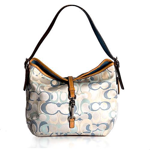 Coach Hamptons Optic Signature Clip Hobo Handbag