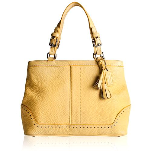 Coach Hamptons Pebble Leather Satchel Handbag