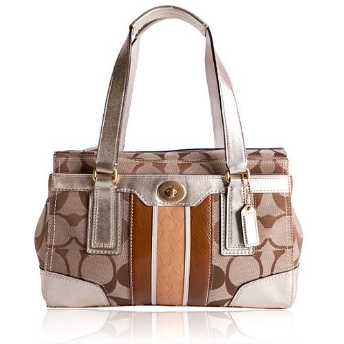 Coach Hamptons Signature Embossed Medium Carryall Satchel Handbag