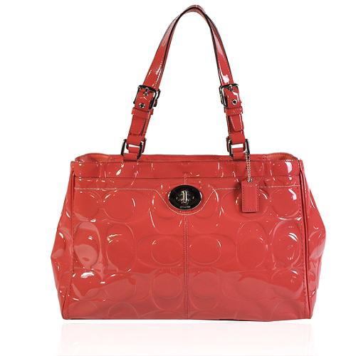 Coach Hamptons Signature Embossed Patent Leather Tote
